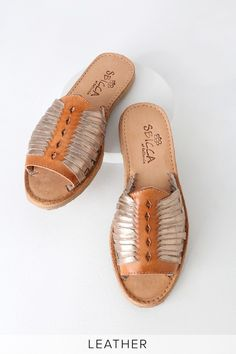 c64c5f26173 Step into sunny style with the Sbicca Lawrin Tan and Rose Gold Leather  Huarache Sandals!