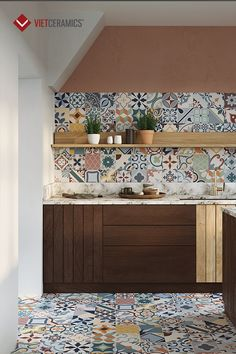 Lumier is a collection inspired by the return to popularity of hand-crafted cement tiles as decorative elements. Kitchen Tiles, Kitchen Colors, Kitchen Flooring, Home Decor Kitchen, Interior Design Kitchen, Diy Kitchen, Spanish Kitchen, Cuisines Design, Decorative Tile