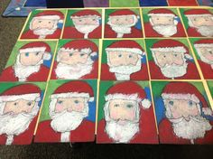 My directed drawing Santas. Christmas Art Projects, Winter Art Projects, School Art Projects, Preschool Christmas, Christmas Activities, Christmas Crafts, Christmas Ideas, First Grade Art, Second Grade