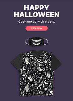 Hey lazybones. The right mask + the right shirt can be your whole costume. Shop creepy, scary, and cute tees and masks, by artists. Cute Halloween, Halloween Outfits, Halloween Gifts, Halloween Costumes, Shopping World, Happy Shopping, Creepy Cute, Scary, Shop Till You Drop