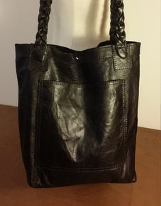 Black Crinkle Leather Tote Braided Straps Shoulder Bag Handmade in USA by ForgedLeatherBags on Etsy