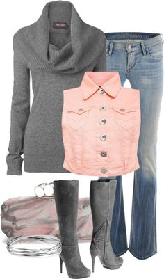 """""""Grey & PInk"""" by melindatg ❤ liked on Polyvore"""