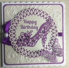 Sweet Dixie dies - Dotted Doily Circle Frame with Floral Shoe and Memory Box Waltzing Butterflies cut down and layered on top of each other. MeiFlower flower centres on the shoe with tiny Anita's silver centre.