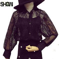 2016 новое поступление горячая распродажа корейский стиль мода женщины с длинным рукавом Twinset элегантный видеть сквозь вершины цветочные черный сетки блузка рубашка купить на AliExpress