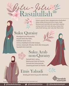 Isteri-isteri Rasullullah SAW. Prophets In Islam, Hijrah Islam, Muslim Quotes, Religious Quotes, Muslim Religion, Islamic Posters, Study Motivation Quotes, Islamic Quotes Wallpaper, Learn Islam