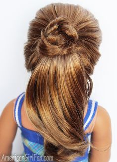 American Girl Doll Fancy Ponytail Hairstyle! (Click through for tutorial)