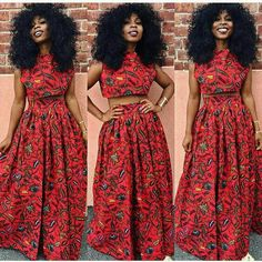 African Crop Top and Maxi Skirt in Red African Print
