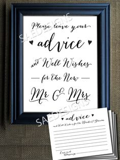 Wedding Day Advice for the Bride and Groom Mr and Mrs Sign and Advice Cards SET DIY Instant Digital Download PRINTABLE 8x10 4.25 X 5.5 card