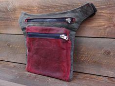 45e241d5c02425 Hip Bag/ Grey Burgundy Red Hip Bag / Waxed Canvas /Festival Fanny Pack /Bum  Bag / Waist Pack / Travel Pouch / Babywearing Bag