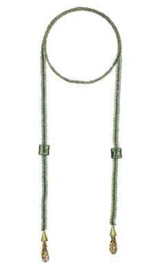 Lariat-Style Necklace or Belt with Swarovski Crystal and Seed Beads