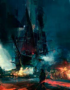 Simon Goinard  | #ship #composing #artwork  #illustration #sailor #design #emotion #harbour #individual < repinned by www.BlickeDeeler.de