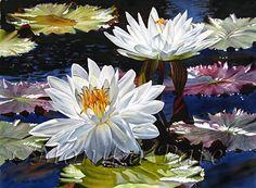 Water Lilies 5 by Monika Pate Watercolor ~ 21 x 29