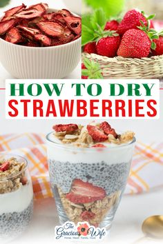 Drying strawberries at home couldn't be easier! It's a great way to preserve ripe strawberries and save money. Learn how to dry strawberries with this easy tutorial. If you are looking for a healthy snack that even kids are sure to enjoy, dried strawberries are perfect. Since strawberries often go on sale during the spring and summer months, that is the perfect time to stock up and preserve whatever abundance you can't get to right away.   @thegraciouswife #ovendriedstrawberries Healthy Snacks For Kids, Vegan Snacks, Yummy Snacks, Delicious Desserts, Snack Recipes, Dessert Recipes, Yummy Treats, Oven Dried Strawberries, Southern Recipes
