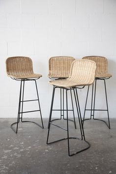 RETRO MODERN WHICKER BAR STOOLS