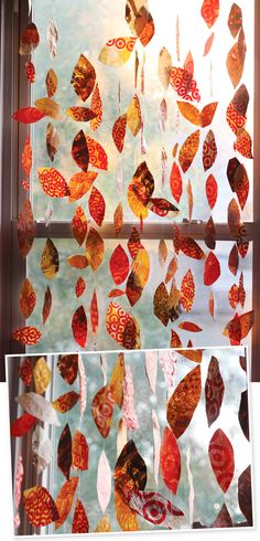 DIY window leaves made from recycled bags.