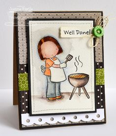 Pure Innocence Grillin' Girl; Sentiment Strips 2 Die-namics; Dotted Scallop Border Trio Die-namics - Joanne Basile