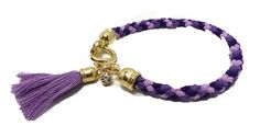 JTY485 - Purple Friendship Bracelet With Tassle And Diamante via Jewellery To You