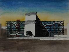 F. Martinuzzi, Tranche du théâtre de L. E. Boullée à l'échelle 1 sut le parvis de Beaubourg. 1988.