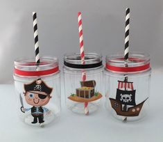 Cute Pirate Party Supplies: Pirate Plastic Mason Jar Drink Cup or Pirate Treat jar with or without lid Pirate Party Tables, Pirate Party Favors, Pirate Theme, Pirate Party Supplies, Mason Jar Drinks, Plastic Mason Jars, Favour Jars, Gugu, 21st Birthday