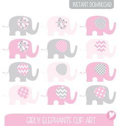 Elefantes color de rosa Clip conjunto de arte / ilustración del elefante / imprimible Clip Art / comercial / rosa y gris / niños / vivero arte