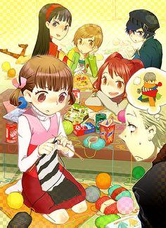 doujima_nanako knitting kuma_(persona_4) narukami_yuu persona persona_4 satonaka_chie seta_souji shirogane_naoto suminohirune tatsumi_kanji