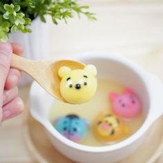 Glutinous rice dumpling, called Tang yuan, is traditional Chinese food made from glutinous rice flour mixed with a small amount of water to form balls and is then cooked and usually served in ginger syrup.   It's really fun to turn ordinary tang yuan to look special, so I'll teach you how to make Winnie the Pooh and his cartoon friends' dumplings.
