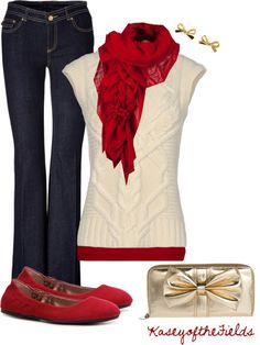 love cream and red for holiday outfits...Love this for christmas