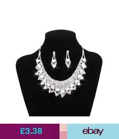 184223b1b Sets Silver Crystal Bib Collar Diamante Pearl Necklace Earring Set Bridal  Jewelry #ebay #Fashion