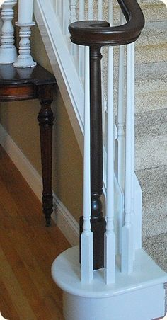 stair railing makeover . . . to stain or to paint?