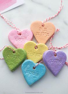 Salt Dough Hearts Conversation Hearts Valentines For Kids, Valentine Day Crafts, Farm Crafts, Preschool Crafts, Valentines Day Activities, Salt Dough, Easy Crafts For Kids, Dough Ornaments, School