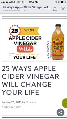 "For today's #divacleantip, check out this article on ""25 Ways Apple Cider Vinegar Will Change Your Life""! Not only is it a great #green way to clean, but it is also a natural way to improve other areas of your life! Enjoy! http://www.mamavation.com/2015/01/25-ways-apple-cider-vinegar-will-change-life.html"