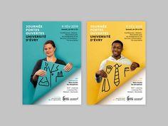 Évry University Open Day - Poster design on Behance Creative Poster Design, Creative Posters, Graphic Design Posters, Graphic Design Inspiration, Poster Designs, Poster Design Layout, Poster Ideas, Graphisches Design, Book Design