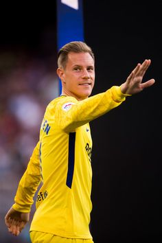 Marc-Andre Ter Stegen of FC Barcelona enters the pitch ahead of the Joan Gamper Trophy match between FC Barcelona and Chapecoense at Camp Nou stadium on August 7, 2017 in Barcelona.