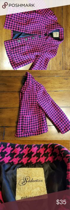Pink Houndstooth Coat Fab pink & black houndstooth button up coat with two pockets.   Entire closet bogo 50% off! :) Seduction Jackets & Coats