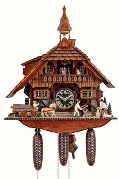 Anton Schneider Cuckoo Clock Black Forest house with 2 moving wood choppers and mill wheel -- Continue to the product at the image link-affiliate link. Black Forest House, Black Forest Germany, Coo Coo Clock, Clock Shop, St Bernard Dogs, Chalet Style, Clock Movements, Antique Clocks, Vintage Clocks