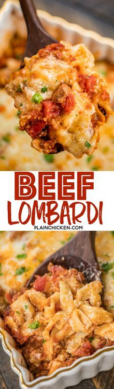 Beef Lombardi Casserole - comfort food at its best! SO easy! Can be made ahead and frozen for up to a month. Ground beef, tomatoes, diced tomatoes and green chiles, tomato paste, egg noodles, sour cream cheddar, parmesan and mozzarella. Everyone cleaned their plate! Dinner success!! #freezermeal #casserole #easydinnerrecipe