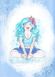 Blue Yoga Throat Chakra Art Print - A4 Size - Boho - Celebrating Plus Sized Curvy Women