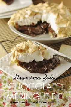 Chocolate Meringue Pie Chocolate meringue pie 1 C sugar 3 heaping Tbsp cocoa 2 rounded Tbsp flour pinch of salt 3 egg yolks 1 C whole milk 1 tsp vanilla 9 inch prebaked pie crust Homemade Chocolate Pie, Chocolate Meringue Pie, Chocolate Desserts, Chocolate Smoothies, Chocolate Shakeology, Chocolate Crinkles, Chocolate Chocolate, Chocolate Mouse, Chocolate Drizzle
