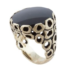Onyx and Gold Ring. Make band ring with circles of silver & gold wire soldered & hammered.