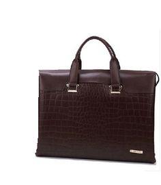 Gentleman Genuine Crocodile Leather Briefcase Business Brown Bag | www.pilaeo.com
