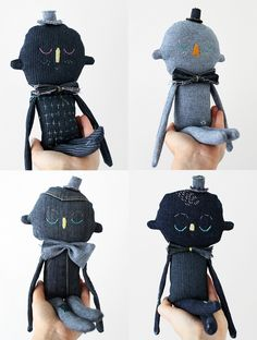 Sweet Dreams, textile characters made from new and rescued denim. Small batch edition of 5. Evie Barrow