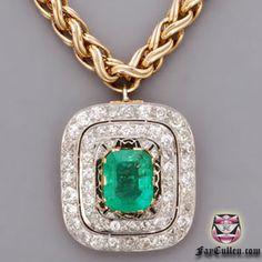 Victorian Emerald Diamond Necklace