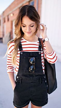 stripes and denim overalls