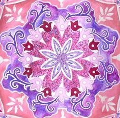 """An original hand painted mandala. A great purple-pink mandala to increase feminine energy in our surrounding. Observing or coloring a mandala works on our meditative brain waves and help us relax and calm down. MAKES A NICE GIFT FOR TEEN-AGE GIRLS, FOR MEN WHO LOOK FOR MORE FEMALE ENERGY AROUND THEIR HOMES AND FOR WOMEN THAT CAN USE A REMINDER FOR THEIR SOFT ENERGY A high quality giclee print on canvas, at the size of 8""""X 8"""" (20x20 cm) ready to be hang. Other sizes available. $47.5"""