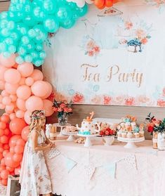 Spa Birthday Tea Party on Kara's Party Ideas | KarasPartyIdeas.com (5) Singing Happy Birthday, Tea Party Birthday, Girl Birthday, Party Treats, Party Gifts, Party Favors, Tea Party Table, Balloons And More, Tea Party Decorations