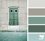 relaxing, spa-like, Grey Blue Green color pallette for a bedroom!