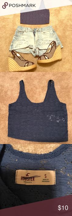 Hollister Lace Crop Top I bought this crop top because I thought it was cute but only wore it once. Would look super cute with a bralette underneath Hollister Tops Crop Tops