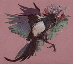 Flower Drawing korean magpie and clover flower, commission for Sophia you know I love drawing corvids. Kunst Inspo, Art Inspo, Art And Illustration, Love Drawings, Art Drawings, Flower Drawing Tumblr, Drawing Flowers, 16 Tattoo, Clover Flower