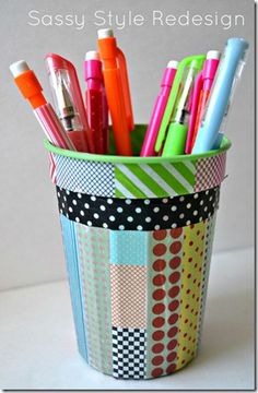 Why spend a lot on a wire pencil holder?  Make one yourself! Buy or reuse a plastic cup and decorate it so it is more you.  Add adhesive magnets to the back so you can stick it onto your locker. Cheap and fun.
