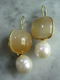 Mondstein - Ohrringe Achat Mondstein Rauchquarz Perlen Biwa - ein Designerstück von TOMKJustbe bei DaWanda